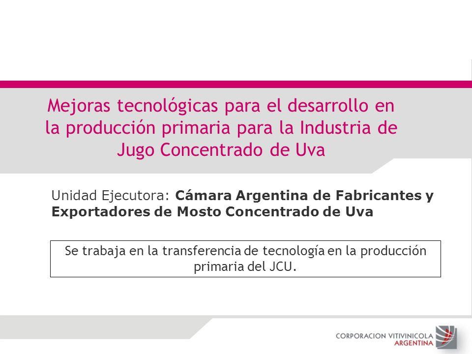 Unidad Ejecutora: Cámara Argentina de Fabricantes y Exportadores de Mosto Concentrado de Uva Mejoras tecnológicas para el desarrollo en la producción
