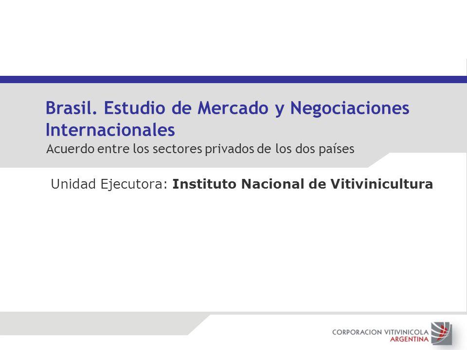 Unidad Ejecutora: Instituto Nacional de Vitivinicultura Brasil. Estudio de Mercado y Negociaciones Internacionales Acuerdo entre los sectores privados