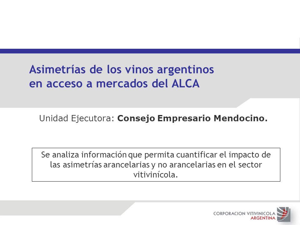 Unidad Ejecutora: Consejo Empresario Mendocino. Asimetrías de los vinos argentinos en acceso a mercados del ALCA Se analiza información que permita cu