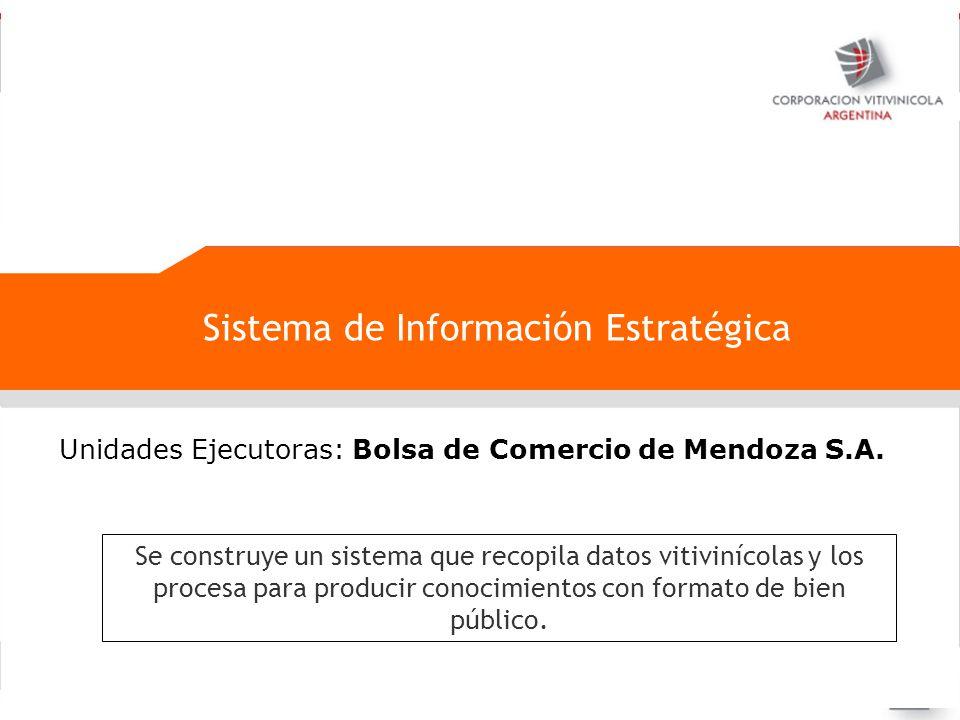 Negociaciones internacionales Sistema de Información Estratégica Unidades Ejecutoras: Bolsa de Comercio de Mendoza S.A. Se construye un sistema que re