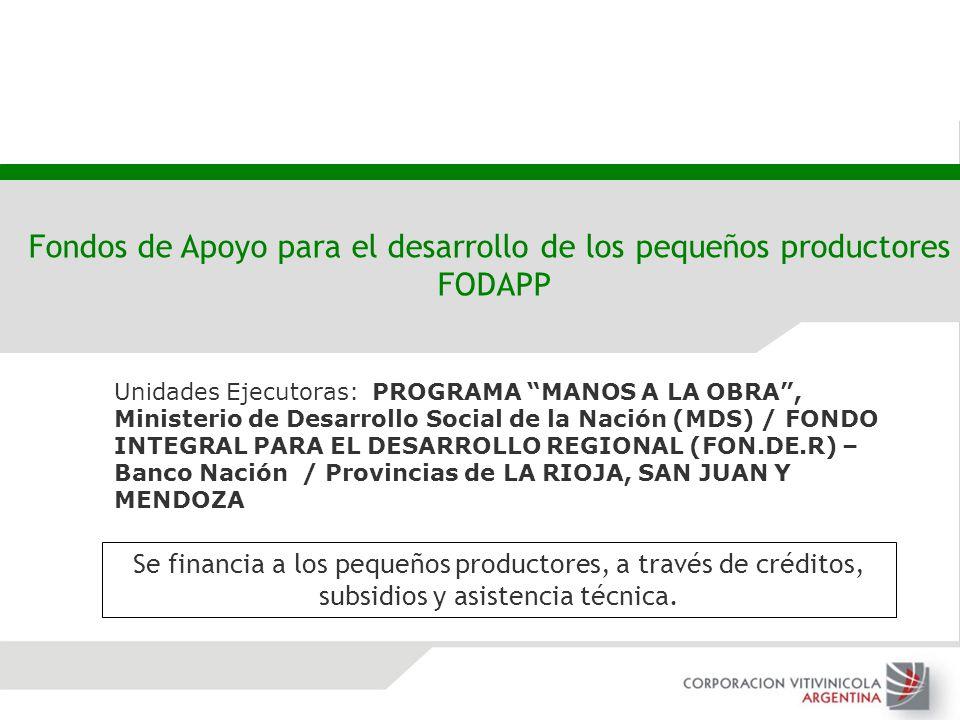 Unidades Ejecutoras: PROGRAMA MANOS A LA OBRA, Ministerio de Desarrollo Social de la Nación (MDS) / FONDO INTEGRAL PARA EL DESARROLLO REGIONAL (FON.DE