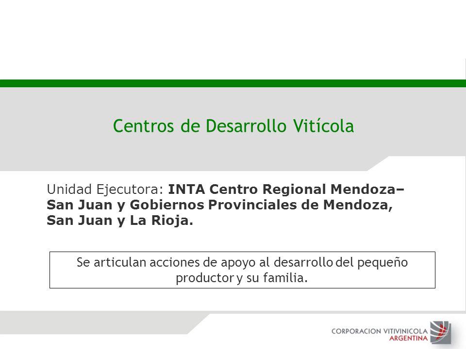 Unidad Ejecutora: INTA Centro Regional Mendoza– San Juan y Gobiernos Provinciales de Mendoza, San Juan y La Rioja. Centros de Desarrollo Vitícola Se a
