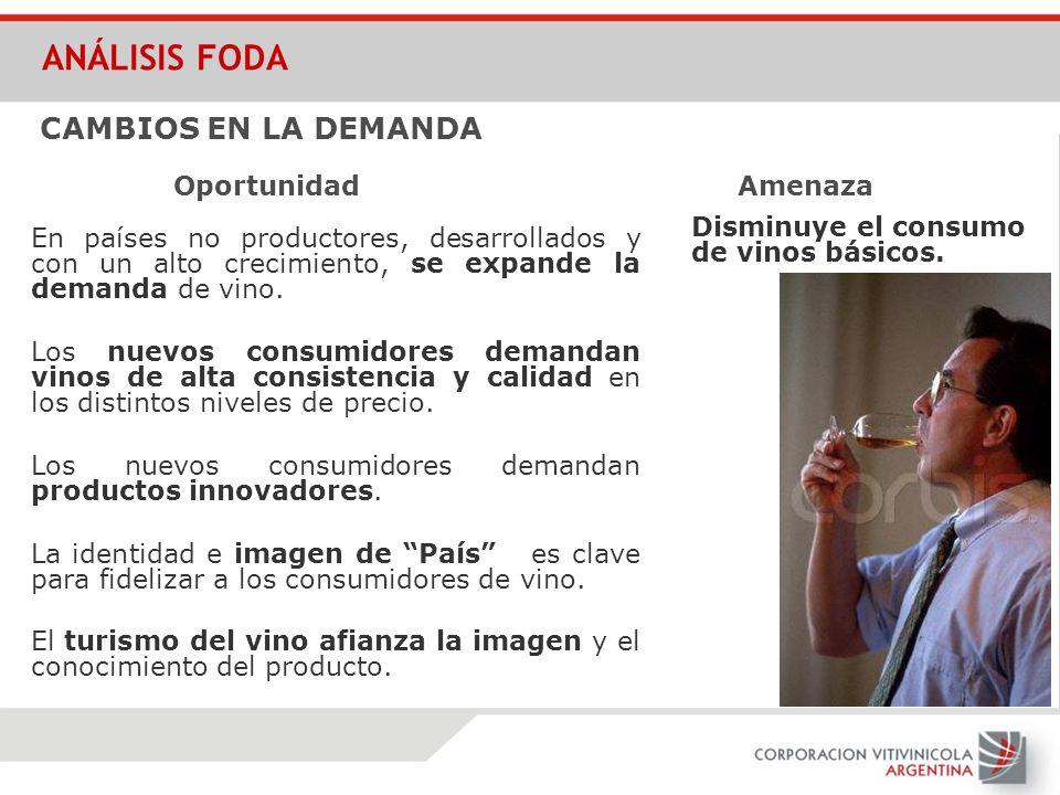 En países no productores, desarrollados y con un alto crecimiento, se expande la demanda de vino. Los nuevos consumidores demandan vinos de alta consi