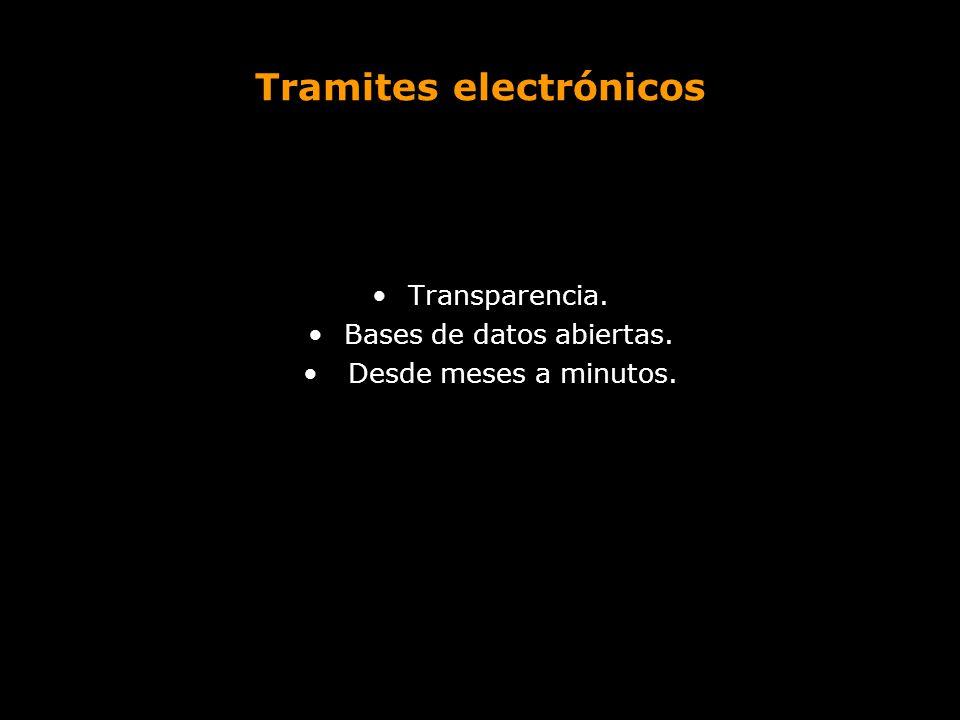 Tramites electrónicos Transparencia. Bases de datos abiertas. Desde meses a minutos.