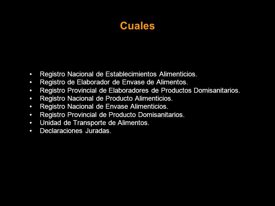 Cuales Registro Nacional de Establecimientos Alimenticios.