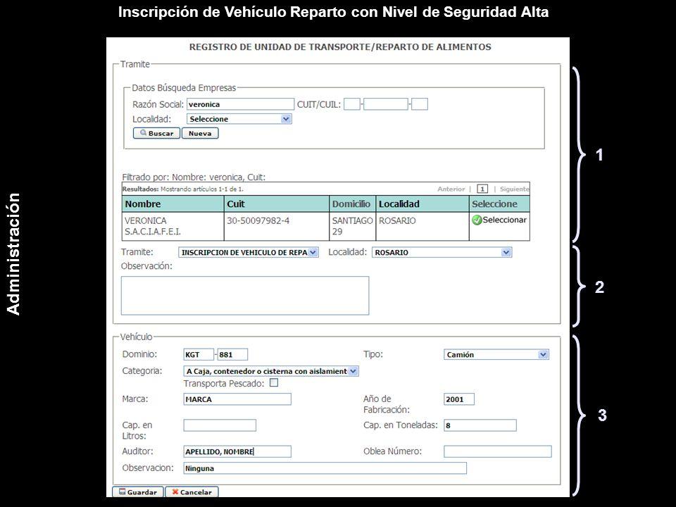 Inscripción de Vehículo Reparto con Nivel de Seguridad Alta 1 2 3 Administración