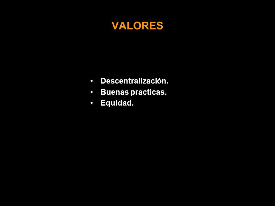 VALORES Descentralización. Buenas practicas. Equidad.