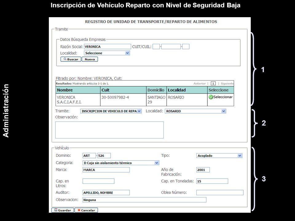 Inscripción de Vehículo Reparto con Nivel de Seguridad Baja 1 2 3 Administración
