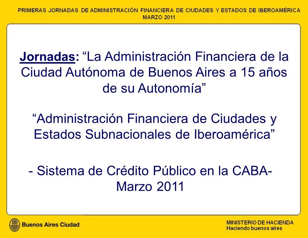 - Sistema de Crédito Público en la CABA- Marzo 2011 Jornadas: La Administración Financiera de la Ciudad Autónoma de Buenos Aires a 15 años de su Autonomía Administración Financiera de Ciudades y Estados Subnacionales de Iberoamérica