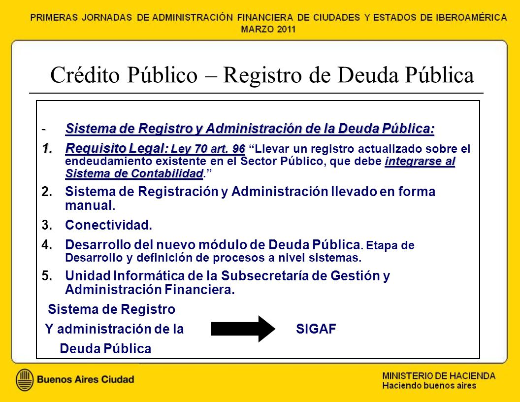 Crédito Público – Registro de Deuda Pública -Sistema de Registro y Administración de la Deuda Pública: 1.Requisito Legal: Ley 70 art.