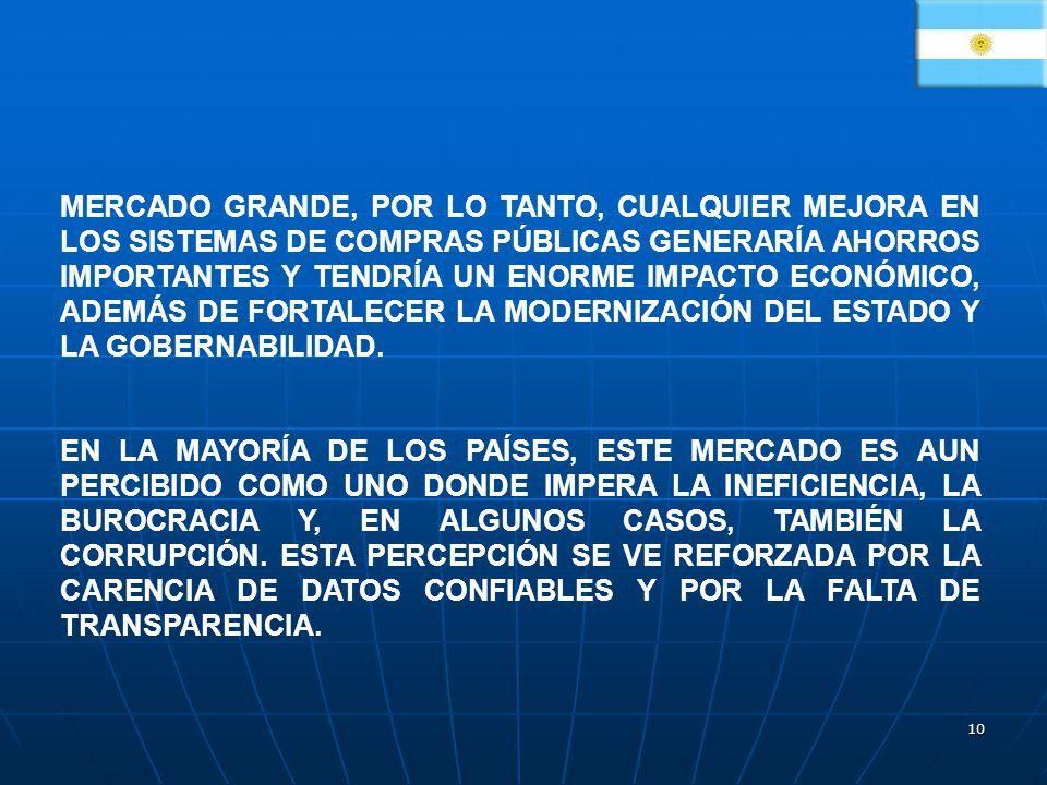 10 MERCADO GRANDE, POR LO TANTO, CUALQUIER MEJORA EN LOS SISTEMAS DE COMPRAS PÚBLICAS GENERARÍA AHORROS IMPORTANTES Y TENDRÍA UN ENORME IMPACTO ECONÓMICO, ADEMÁS DE FORTALECER LA MODERNIZACIÓN DEL ESTADO Y LA GOBERNABILIDAD.