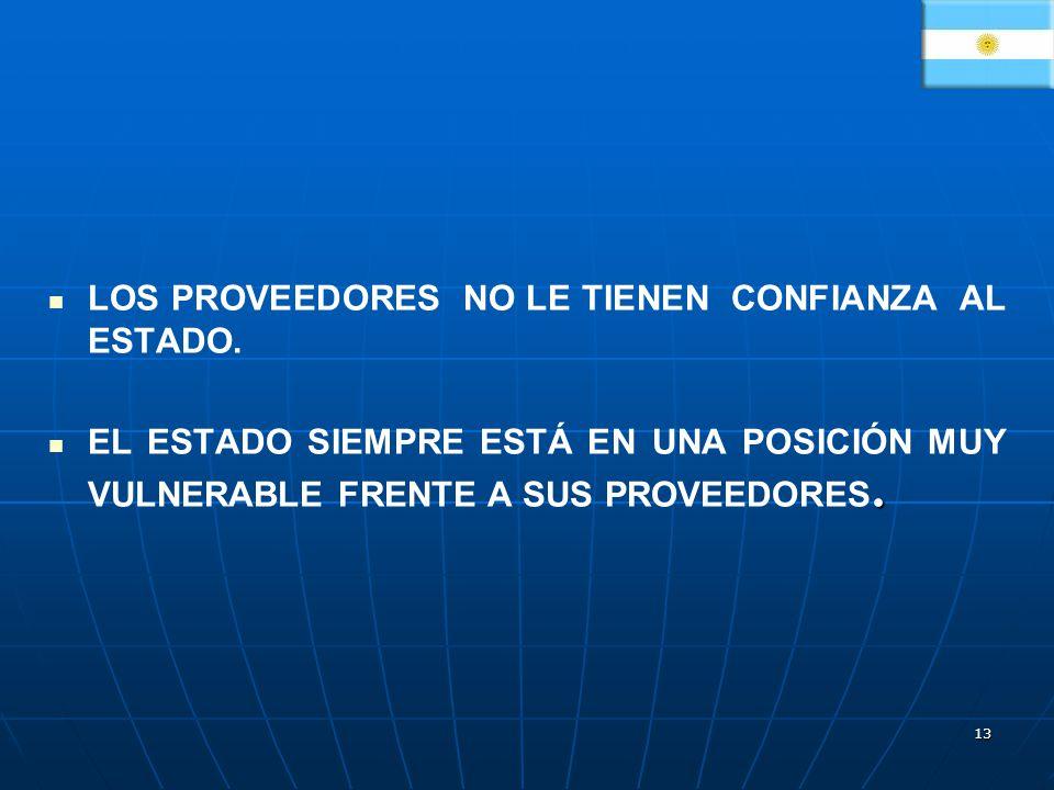 13 LOS PROVEEDORES NO LE TIENEN CONFIANZA AL ESTADO..