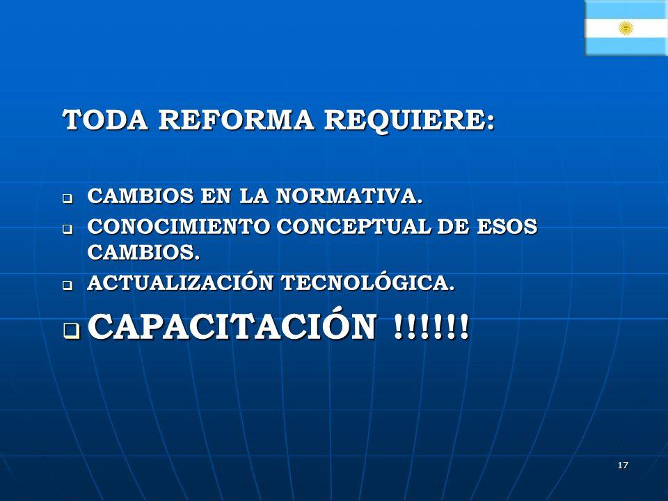 17 TODA REFORMA REQUIERE: CAMBIOS EN LA NORMATIVA.