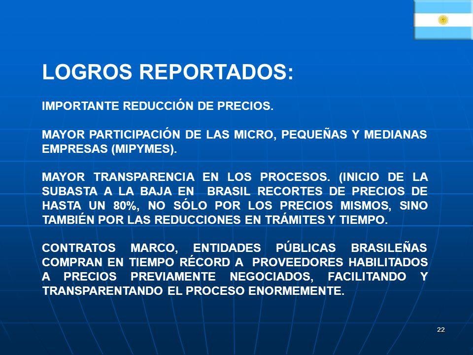 22 LOGROS REPORTADOS: IMPORTANTE REDUCCIÓN DE PRECIOS. MAYOR PARTICIPACIÓN DE LAS MICRO, PEQUEÑAS Y MEDIANAS EMPRESAS (MIPYMES). MAYOR TRANSPARENCIA E