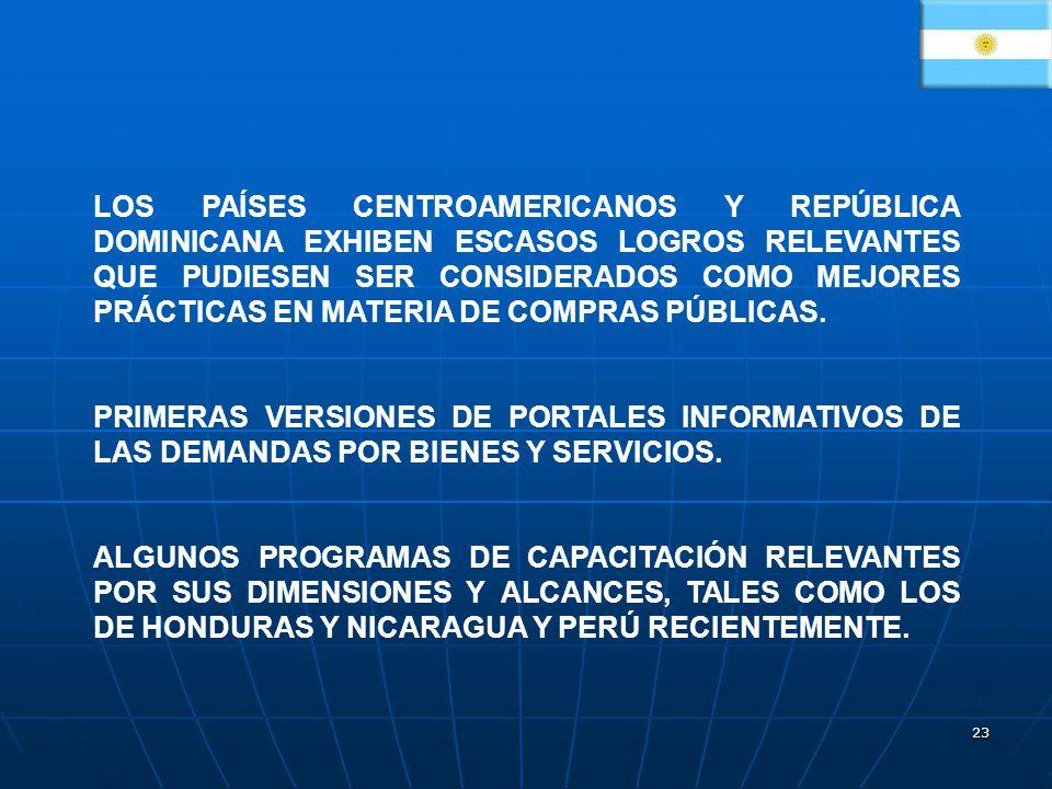 23 LOS PAÍSES CENTROAMERICANOS Y REPÚBLICA DOMINICANA EXHIBEN ESCASOS LOGROS RELEVANTES QUE PUDIESEN SER CONSIDERADOS COMO MEJORES PRÁCTICAS EN MATERIA DE COMPRAS PÚBLICAS.