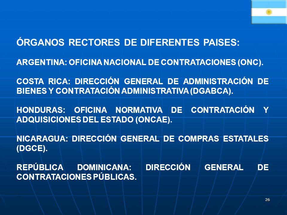 26 ÓRGANOS RECTORES DE DIFERENTES PAISES: ARGENTINA: OFICINA NACIONAL DE CONTRATACIONES (ONC). COSTA RICA: DIRECCIÓN GENERAL DE ADMINISTRACIÓN DE BIEN