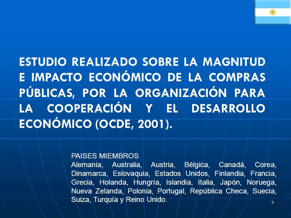 3 ESTUDIO REALIZADO SOBRE LA MAGNITUD E IMPACTO ECONÓMICO DE LA COMPRAS PÚBLICAS, POR LA ORGANIZACIÓN PARA LA COOPERACIÓN Y EL DESARROLLO ECONÓMICO (OCDE, 2001).