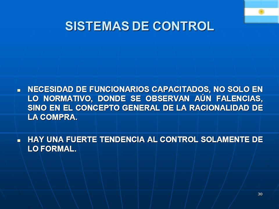 30 SISTEMAS DE CONTROL NECESIDAD DE FUNCIONARIOS CAPACITADOS, NO SOLO EN LO NORMATIVO, DONDE SE OBSERVAN AÚN FALENCIAS, SINO EN EL CONCEPTO GENERAL DE