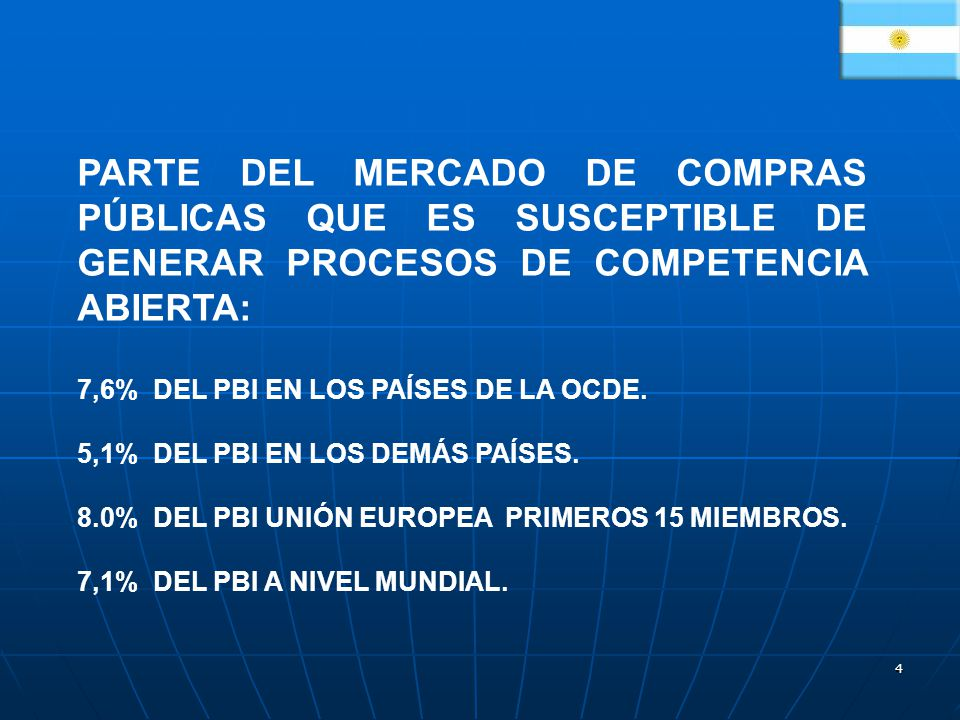 4 PARTE DEL MERCADO DE COMPRAS PÚBLICAS QUE ES SUSCEPTIBLE DE GENERAR PROCESOS DE COMPETENCIA ABIERTA: 7,6% DEL PBI EN LOS PAÍSES DE LA OCDE. 5,1% DEL