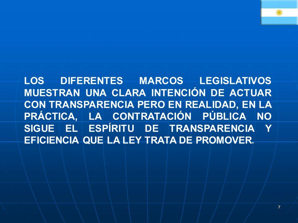 7 LOS DIFERENTES MARCOS LEGISLATIVOS MUESTRAN UNA CLARA INTENCIÓN DE ACTUAR CON TRANSPARENCIA PERO EN REALIDAD, EN LA PRÁCTICA, LA CONTRATACIÓN PÚBLICA NO SIGUE EL ESPÍRITU DE TRANSPARENCIA Y EFICIENCIA QUE LA LEY TRATA DE PROMOVER.