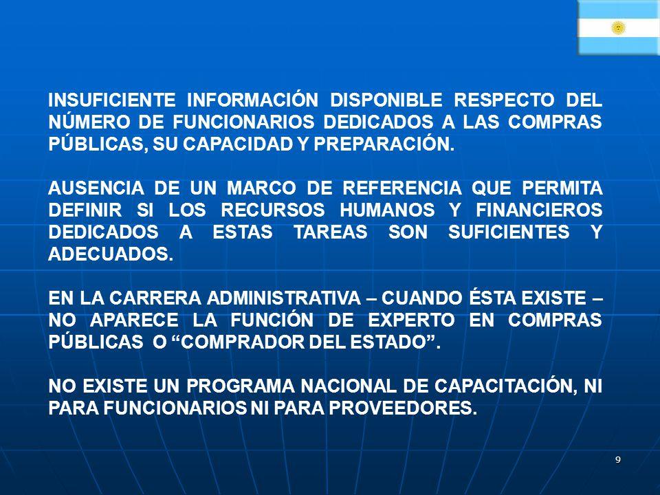 9 INSUFICIENTE INFORMACIÓN DISPONIBLE RESPECTO DEL NÚMERO DE FUNCIONARIOS DEDICADOS A LAS COMPRAS PÚBLICAS, SU CAPACIDAD Y PREPARACIÓN.