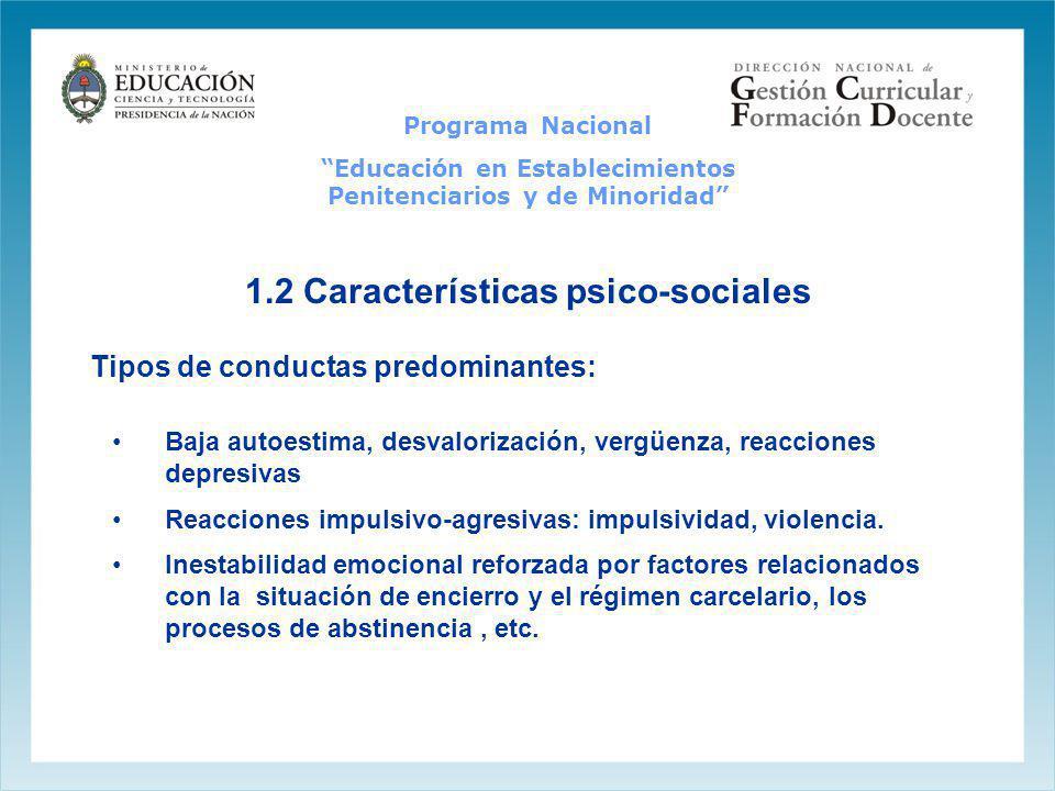Programa Nacional Educación en Establecimientos Penitenciarios y de Minoridad 1.2 Características psico-sociales Baja autoestima, desvalorización, ver