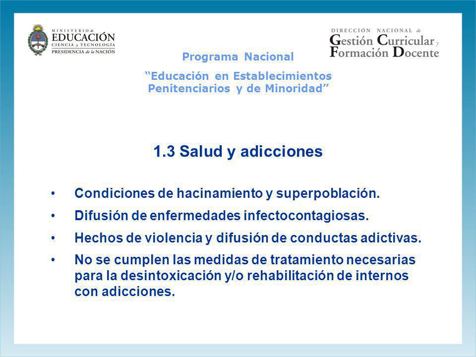 1.3 Salud y adicciones Condiciones de hacinamiento y superpoblación. Difusión de enfermedades infectocontagiosas. Hechos de violencia y difusión de co