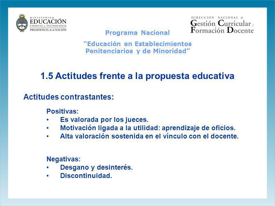 1.5 Actitudes frente a la propuesta educativa Positivas: Es valorada por los jueces. Motivación ligada a la utilidad: aprendizaje de oficios. Alta val