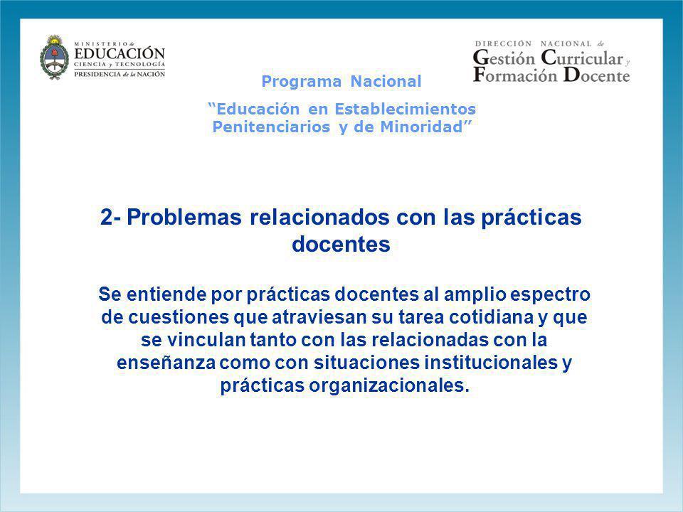 2- Problemas relacionados con las prácticas docentes Se entiende por prácticas docentes al amplio espectro de cuestiones que atraviesan su tarea cotid
