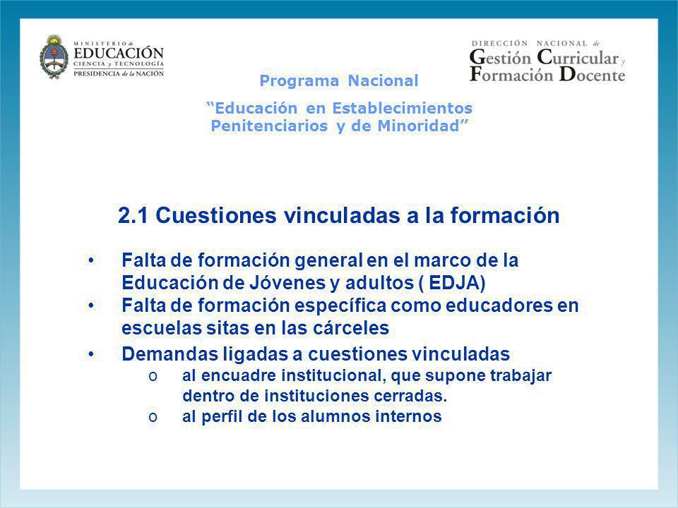 2.1 Cuestiones vinculadas a la formación Falta de formación general en el marco de la Educación de Jóvenes y adultos ( EDJA) Falta de formación especí