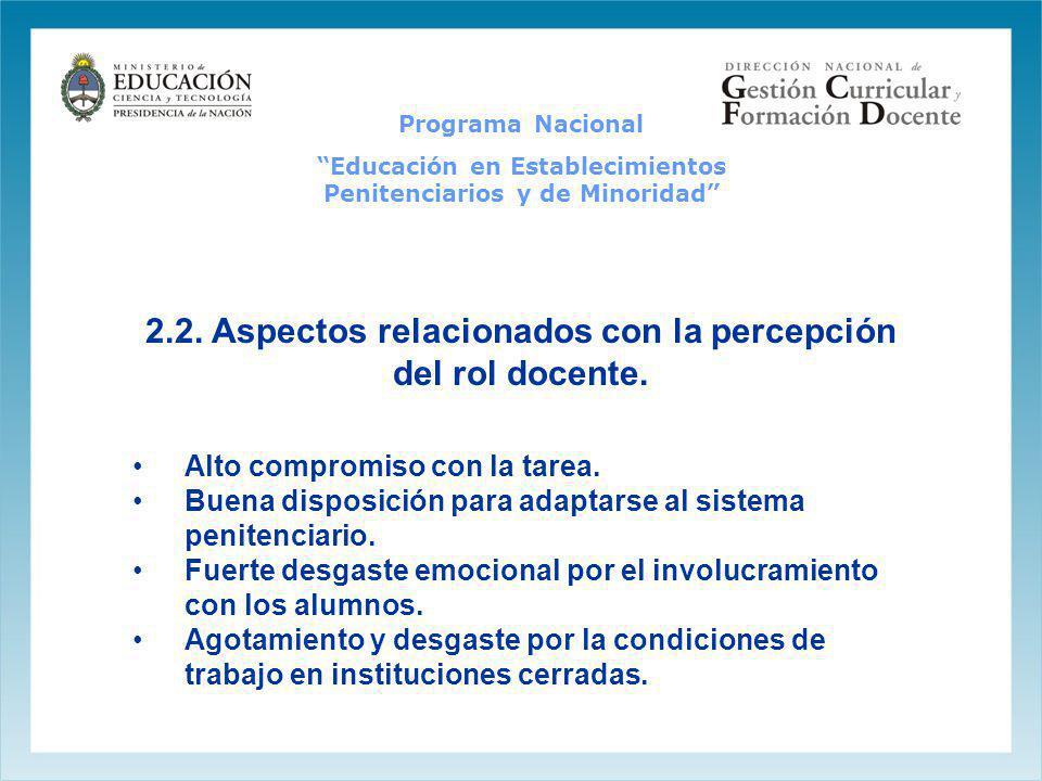 2.2. Aspectos relacionados con la percepción del rol docente. Alto compromiso con la tarea. Buena disposición para adaptarse al sistema penitenciario.