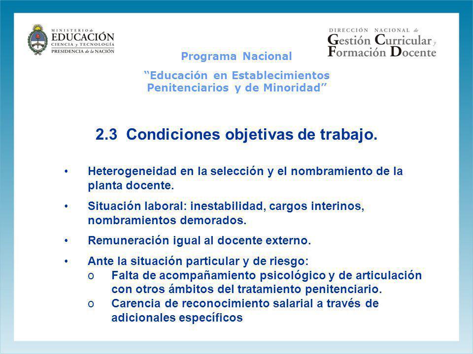 2.3 Condiciones objetivas de trabajo. Heterogeneidad en la selección y el nombramiento de la planta docente. Situación laboral: inestabilidad, cargos