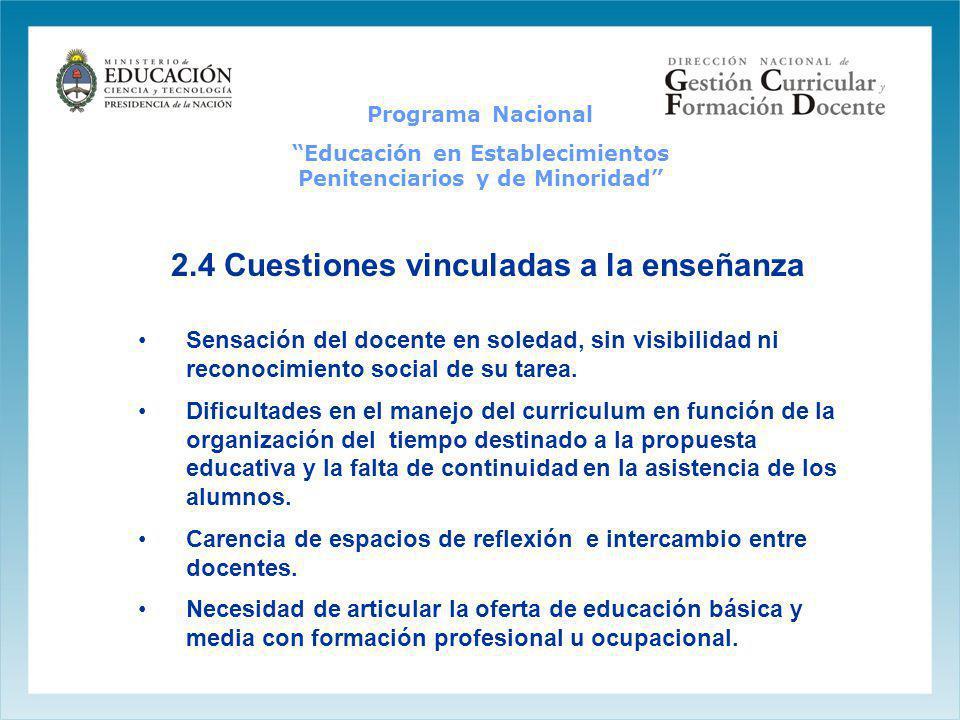 2.4 Cuestiones vinculadas a la enseñanza Sensación del docente en soledad, sin visibilidad ni reconocimiento social de su tarea. Dificultades en el ma