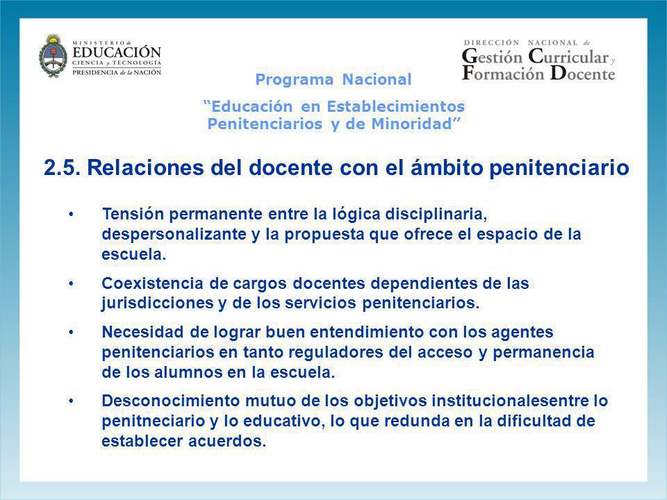 2.5. Relaciones del docente con el ámbito penitenciario Tensión permanente entre la lógica disciplinaria, despersonalizante y la propuesta que ofrece