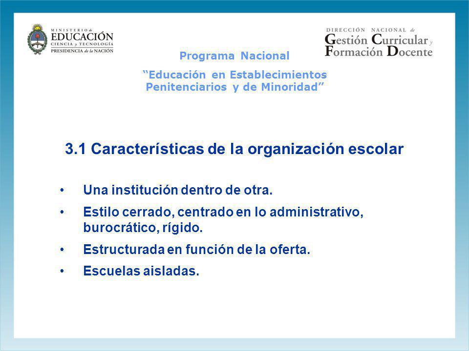3.1 Características de la organización escolar Una institución dentro de otra. Estilo cerrado, centrado en lo administrativo, burocrático, rígido. Est
