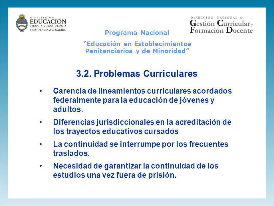 3.2. Problemas Curriculares Carencia de lineamientos curriculares acordados federalmente para la educación de jóvenes y adultos. Diferencias jurisdicc