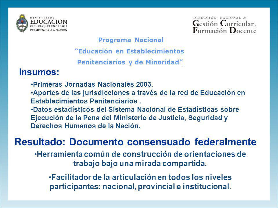 Insumos: Primeras Jornadas Nacionales 2003. Aportes de las jurisdicciones a través de la red de Educación en Establecimientos Penitenciarios. Datos es
