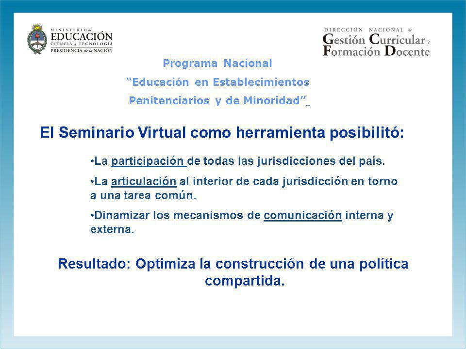 El Seminario Virtual como herramienta posibilitó: La participación de todas las jurisdicciones del país. La articulación al interior de cada jurisdicc