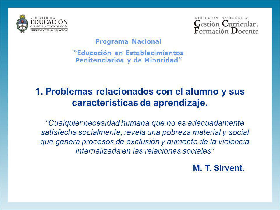 Programa Nacional Educación en Establecimientos Penitenciarios y de Minoridad 1. Problemas relacionados con el alumno y sus características de aprendi