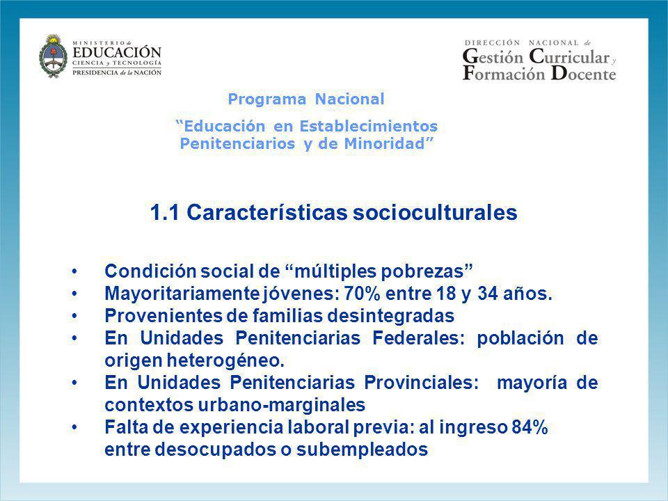 Programa Nacional Educación en Establecimientos Penitenciarios y de Minoridad 1.1 Características socioculturales Condición social de múltiples pobrez