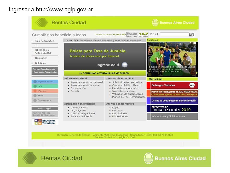 Ingresar a http://www.agip.gov.ar