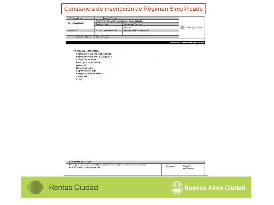 Constancia de inscripción de Régimen Simplificado