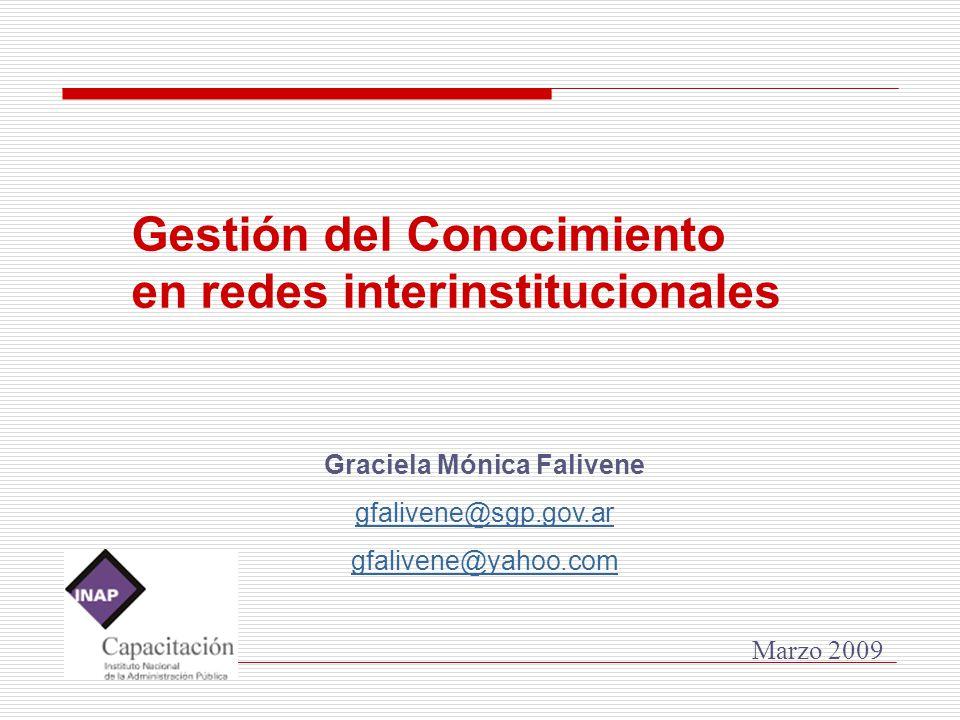 Graciela Mónica Falivene gfalivene@sgp.gov.ar gfalivene@yahoo.com Marzo 2009 Gestión del Conocimiento en redes interinstitucionales