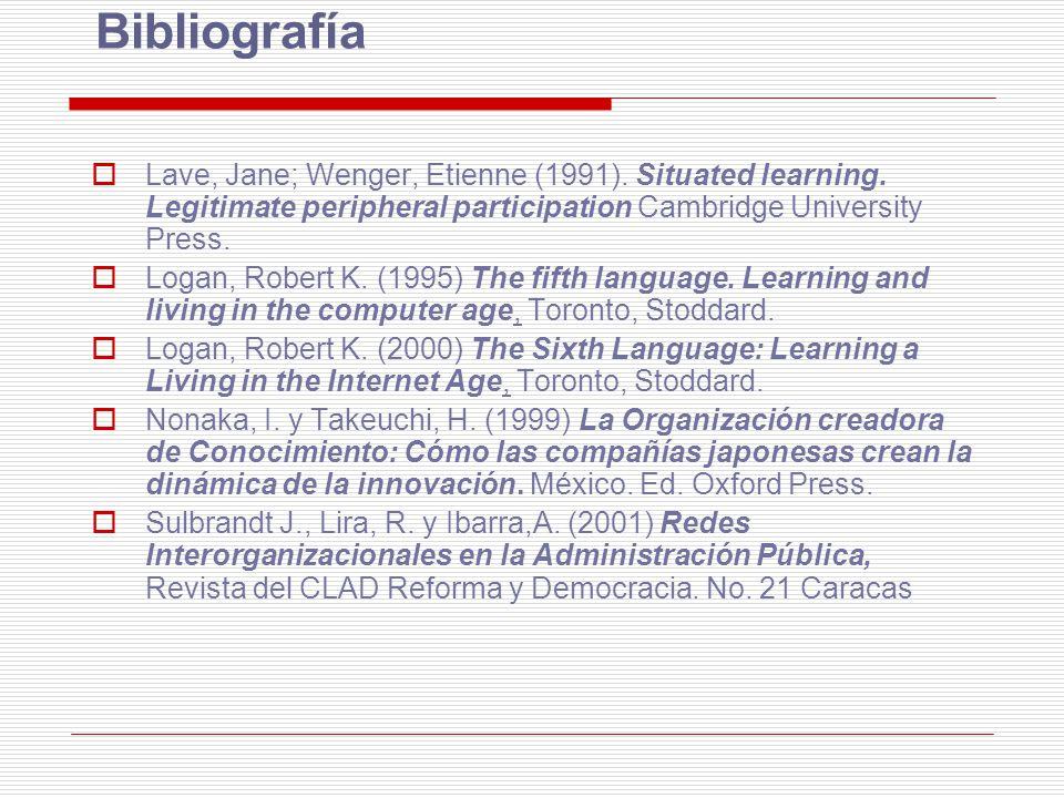 Bibliografía Lave, Jane; Wenger, Etienne (1991). Situated learning. Legitimate peripheral participation Cambridge University Press. Logan, Robert K. (