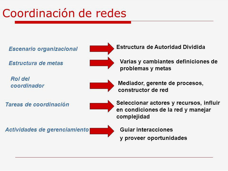 Coordinación de redes Escenario organizacional Estructura de Autoridad Dividida Estructura de metas Varias y cambiantes definiciones de problemas y me