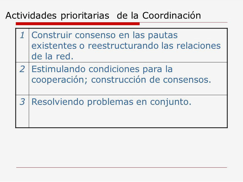 Actividades prioritarias de la Coordinación 1Construir consenso en las pautas existentes o reestructurando las relaciones de la red. 2Estimulando cond
