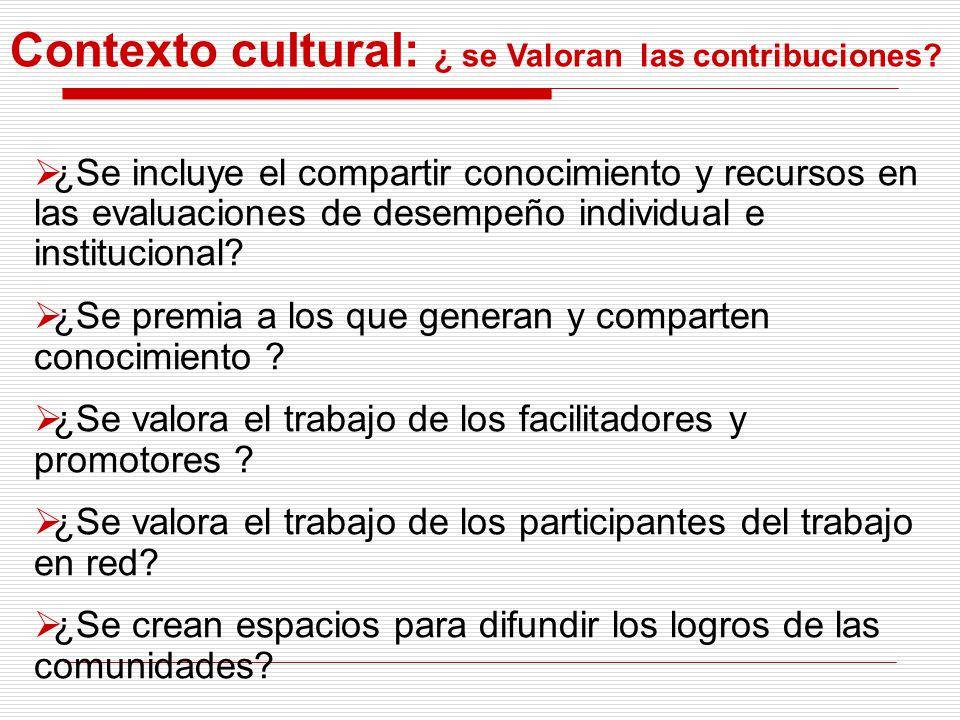 Contexto cultural: ¿ se Valoran las contribuciones? ¿Se incluye el compartir conocimiento y recursos en las evaluaciones de desempeño individual e ins