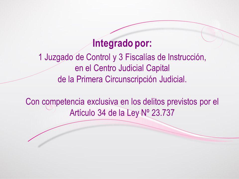Integrado por: 1 Juzgado de Control y 3 Fiscalías de Instrucción, en el Centro Judicial Capital de la Primera Circunscripción Judicial. Con competenci