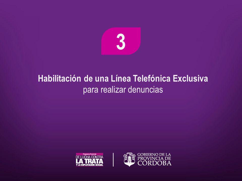 Habilitación de una Línea Telefónica Exclusiva para realizar denuncias 3