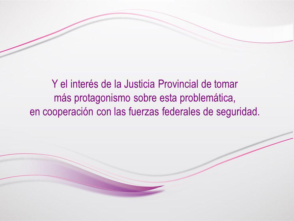Y el interés de la Justicia Provincial de tomar más protagonismo sobre esta problemática, en cooperación con las fuerzas federales de seguridad.